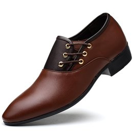 Discount open toe nude color shoes - Business Men PU Leather Shoes Formal Casual Flat Pointed Toe Lace-Up Shoes FC55
