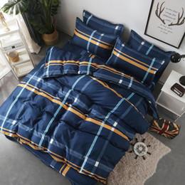 Wholesale twin suits for sale – designer Home Textile Twin Full Queen King Bed Linen Set Boy Kid Adult Girl Bedding Suit Plaid Blue Duvet Cover Sheet Pillowcase