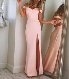 dress designs lilac off shoulder 2019 - 2019 the Shoulder Simple Elegant Prom Dresses Pink Long Pageant Gowns High-Thigh Split Unique Design Formal Evening Wear