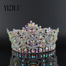 YIZILI New European Big Bride Wedding Crow AB Full Diamond Crystal Large  Round Queen Crown Wedding Hair Accessories paty C060 C18122501 dca92706e206