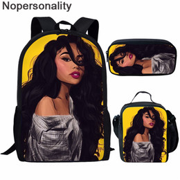 cool high school bags NZ - Nopersonality Back To School for Teenage Girls 3D African Black Girls Prints Cool Backpack Sets High School Book Bag Customize
