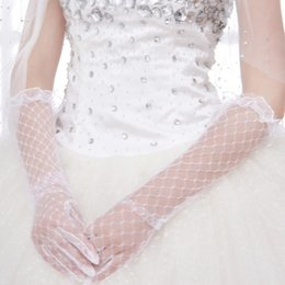 white fingerless wedding long gloves Australia - Women Lace Bridal Long Gloves Elbow Length Full Finger Wedding Accessories White Elbow Length Gloves Wedding