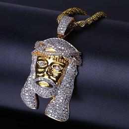 Jesus Christ Gold Pendant Australia - 18K Gold Plated Pendant Necklaces Jewelry Luxury Exquisite Bling Zircon Jesus Christ Portrait Hip Hop Men Women Necklaces Wholesale LN072