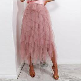 $enCountryForm.capitalKeyWord Australia - Fashion Ruffles Tiered Ankle Length Women Tulle Skirts 2019 Dusty Pink Bridal Tulle Skirt Zipper Custom Made Tutu Maxi Skirts