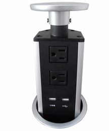 $enCountryForm.capitalKeyWord Australia - Handing pull up hidden socket outlet with 2 US power 2 cat6 cable plug silver  black ,smart socket ,free shipping