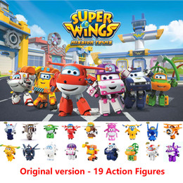 Wholesale AULDEY Mini Super Wings 19 Figures Robots New Characters Mini Jett Transformation Toys Airplane Action Figures Robots Kids Christmas Gift