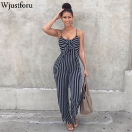 womens strapless rompers Australia - Wjustforu Sexy Bow Strap Striped Jumpsuit Wide Legs Summer Sleeveless Backless Off Shoulder High Split Rompers Womens Jumpsuits MX190726