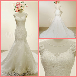 Hot Sexy White Dresses Australia - Robe de Mariage white Mermaid Wedding Dresses 2019 cap sleeve scoop neckline sheer back sexy court train real picture bride gowns hot sale
