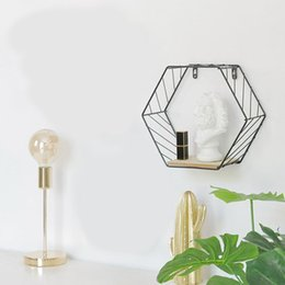 personalized figures Australia - Wood Iron Art Hexagonal Grid Wall Shelf Combination Wall Hanging Geometric Figure Wall Decoration