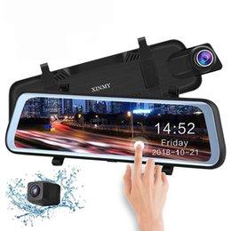 2019 10 Polegada Tela Sensível Ao Toque de Stream Media Car DVR Espelho Retrovisor Dupla Lente de Backup Reversa Câmera 1080 P 170 Full HD traço Camcorder em Promoção