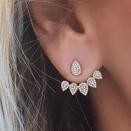 Jackets Studs Australia - Fashion Water Drop Stud Earrings Rhinestone Front Back Paw Double Sided Stud Earrings For Women Ear Jacket Piercing Earings