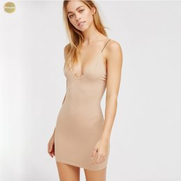 lace cami dress Australia - Nude Invisible Dress Sexy Cami Women Deep V Neck Bodycon Dress Underdress Ladies Sexy Short Under Dresses Female