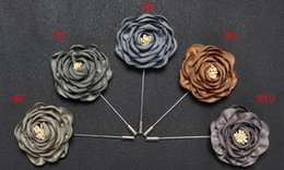 $enCountryForm.capitalKeyWord Australia - New fashion men lapel pin suit boutonniere fabric yarn pin 17colors button Stick gold women flower brooches for wedding gift Wholesale