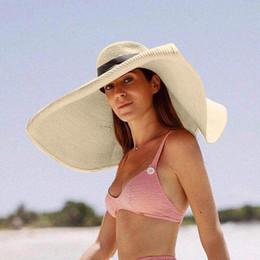 Large bLack fLoppy sun hat online shopping - Summer Large Brim Straw Hat Floppy Wide Brim Sun Cap Bowknot Beach Foldable Hats New Sun Hat UV Protect L5