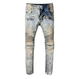 $enCountryForm.capitalKeyWord NZ - Wear Man Paint rock revival mens print Jeans designs for Self-cultivation Bound Feet Pants Tide Male Locomotive
