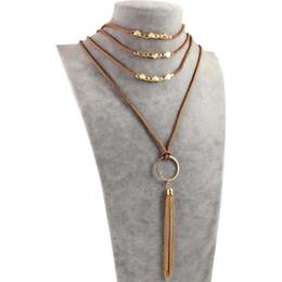 0af78df09583 Collar largo de la borla de las mujeres - Multi Layer Alloy PU cuero gótico  colgante suéter collares regalo de la joyería accesorios de moda