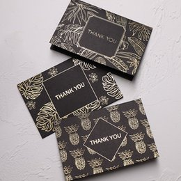 Wholesale 10pcs Bronzing Greeting Card Black Business Creative Foil Thank You Card with Envelopes Birthday Christmas Stationery
