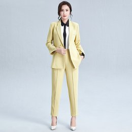 pencil suits Canada - Solid blazer, pencil pants suit, women's dress, 2020 spring new irregular 9-point sleeve, ol style, two-piece set, women