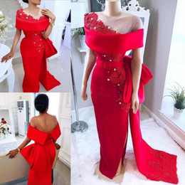 Hourglass dresses online shopping - Saudi Arabic Red Prom Dresses With Sheer Neck Bow Train Beaded Pearls Mermaid Evening Gowns Satin Side Split African Formal Party Dress