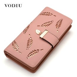 Leaf Coin Australia - Women Wallet Female Purse Leather Women Wallet Card Holder Coin Purse Phone Wallet Cash Pocket Photo Clutch Bag Leaves Design