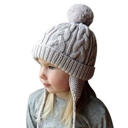 $enCountryForm.capitalKeyWord Australia - Winter Wool Knitted Pom Pom Hat Cap For Kids Baby Boys Girls Children Crochet Earflap Pompom Beanies Children's Skullies Gorro