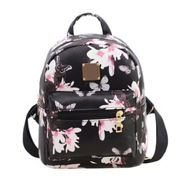 Wholesale Women Backpack Floral Travel PU Leather Shoulder School Bag Black White Pink
