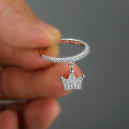 Ring thin band online shopping - RongXing Dainty Small Crown Ring Silver Rose Gold Color White Crystal Stacking Thin Rings For Women Wedding Bands Jewelry Cz