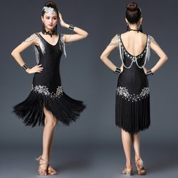 $enCountryForm.capitalKeyWord Australia - Rhinestones Tassel Dress Adult Kids Latin Dance Dresses Ballroom Dance Dress For Women girls Latin Competition Clothes