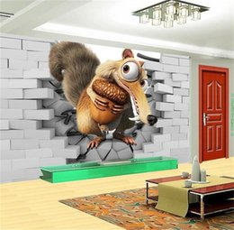 Wood Kids Kitchen Australia - custom size 3d photo wallpaper living room mural kids brick wall squirrel cartoon picture sofa TV backdrop wallpaper non-woven wall sticker