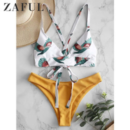 block wiring NZ - Zaful Bird Color Block Criss Cross Bikini Set Wire Free Swim Suit Padded Straps Sexy Swimwear 2019 Chic Bathing Suit Biquini Y19062601