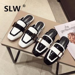flat shoes korean styles 2019 - spring korean style new square toe mixed colors mule shoe female buckle patent leather shallow mouth slip on casual lazy