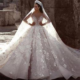 Monarch wedding dresses online shopping - Ball Gown Wedding Dresses Glamorous Luxury Dubai Arabic New Fashion Lace Long Sleeves D Flowers Beading Wedding Dress Bridal Gowns Custom