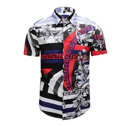 c6248b76ec0e950 Совершенно новые мужские повседневные рубашки Ретро цвет печати с коротким  рукавом деловые платья мужские рубашки роскошные мужские Medusa Slim Fit  рубашки