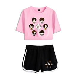 Gray cute fashion pants online shopping - Frdun Got7 Women Sets Casual Sexy Girls Short Sleeve Cute women Pink T shirt Fashion Summer piece set Casual Clothes