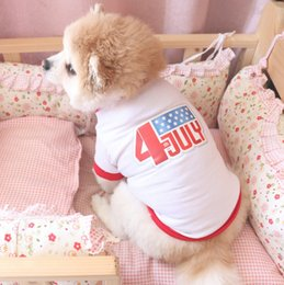 top dog clothing NZ - Pet Dog Clothes July Fourth Pet Dog T Shirts Independence Day Sleeveless Tank Tops Small Dog Costume Dogs Supplies LYW3053