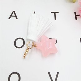 $enCountryForm.capitalKeyWord Australia - 5PC Candy Color Leather Tassel Star with Lobster Clasp Accessories for Phonecase Bag Car Keychain Handmade Jewelry Findings