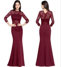 $enCountryForm.capitalKeyWord Australia - Red Wine Mermaid Long Evening Dresses Satin Lace O Neck Zipper-Up Floor Length Vestidos Noche Prom Gowns