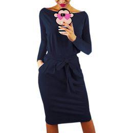 916569eb76c Solid Long Sleeve Autumn Women Dress Warm Winter Knee-Length Sexy Bandage  Bodycon Dress Casual Robe Pockets Plus Size 2XL GV918