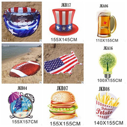 child shaped towels Australia - Irregular Beach Towel American Flag Towels Football Blanket 155cm Summer Animal Fruit Shape Wrap Scarf Thick Yoga Mat