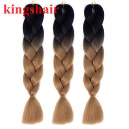 "Synthetic Braiding Hair Blonde Australia - 24"" Kanekalon Jumbo Braiding Hair Extensions Ombre Brown Blonde Long Synthetic Hair for Box Braid Crochet Twist Hair 100g pack"