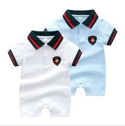 $enCountryForm.capitalKeyWord UK - Cool Ins Summer Infant Kids Romper Short Sleeve Pet Pan Collar Boy Rompers 100% Cotton Baby Climb summer Romper baby Clothing