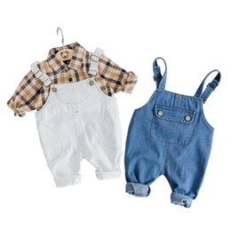 infant baby clothing UK - New 2019 Baby Girl Boy Clothes Set Cotton Shirt Blouse And Overalls Kids Clothes Spring Autumn Infant Suit Baby Clothing J190520