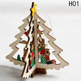 Decor Ornament Australia - Natural Wooden Pentagram Christmas Tree Ornaments Christmas Motif Wooden Pendants Snowman Hanging Xmas Home Living Room Decor