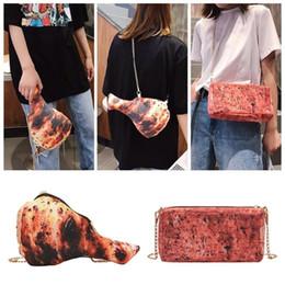 ChiCken handbag online shopping - 3D Print Women Crossbody bag Funny Chicken Leg Shape Women Shoulder Bag Zipper Chain Creative Crossbody Messenger Handbags