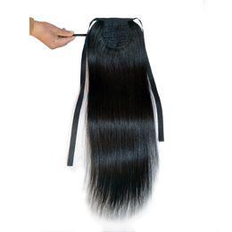 $enCountryForm.capitalKeyWord Australia - Ponytail Human Hair Remy Straight European Ponytail Hairstyles 50g 70g 100g 100% Natural Hair Clip in Extensions by Ali Magic