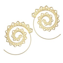 $enCountryForm.capitalKeyWord Australia - Exaggeration Swirl Drop Shape Piercing Earrings Personality Circle Screw Type Gold And Silver Color Jewelry Wholesale
