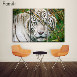 $enCountryForm.capitalKeyWord NZ - 3Pcs Set Modern Printed Tiger Canvas Painting Cuadros Picture Animal Landscape Oil Paintings For Living Room (No Frame)