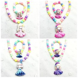 korea necklaces Australia - Korea Cartoon Doll Necklace Pendant Bracelet Jewelry Set For Children Girl Cosplay Accessories-NDCGJS004F