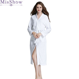 ce52029c40 2019 Spring Autumn Women s Luxury Deep V Soft Cotton Robes Long Sleeve  Nightgowns Home Clothes Plus Size Ladies Housecoat