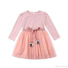 mid length sleeve wedding dresses NZ - Kids Girls Solid Pink Tutu Dresses Long Sleeve Wedding Party Flower Kid Girl Clothes Ribbons Silver Stars Princess Dress Children Clothing
